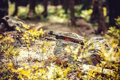 Mosin nagant Finnish rifle M-27 in bushes