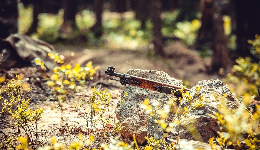 Mosin nagant Finnish rifle M-27 in bushes