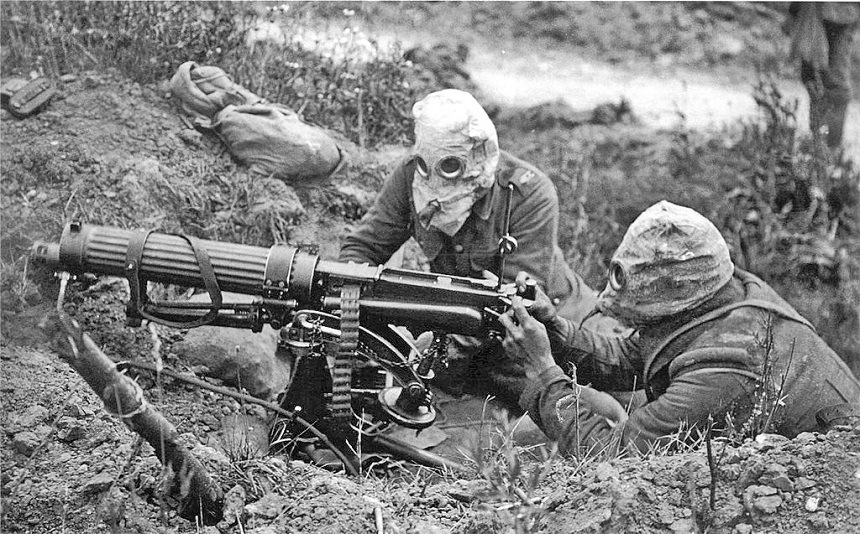 Vickers Machine Gun Crew with Gas Masks German Army
