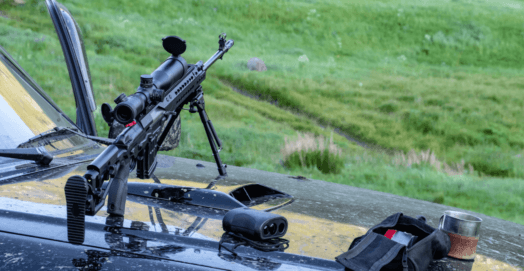 using a rangefinder with a rifle on a car